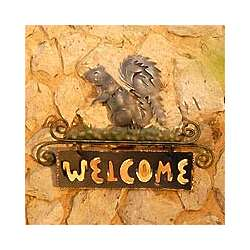 Squirrel's Happy Welcome Iron Sign