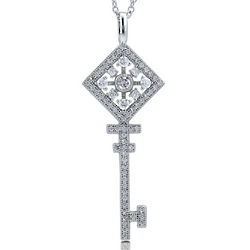 Cubic Zirconia Sterling Silver Filigree Key Necklace