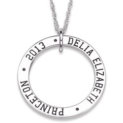 Sterling Silver Graduation Memories Engraved Disc Necklace