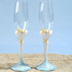 Starfish Beach Theme Toasting Glasses
