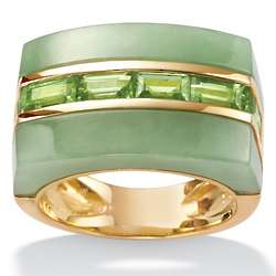 Jade and Peridot 18K Gold Over Sterling Silver Ring