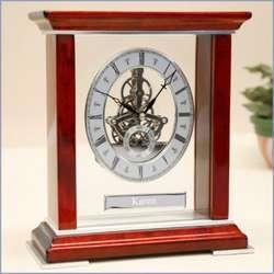 Personalized Mahogany Skeleton Clock