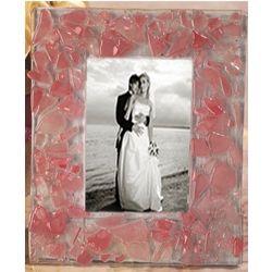 Murano Art Deco Pink Pebble Glass Photo Frame