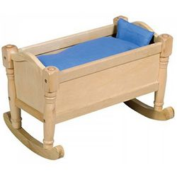 Wooden Doll Cradle with Bedding
