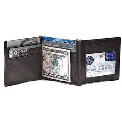 Men's Leather Double Money Clip Credit Card Wallet