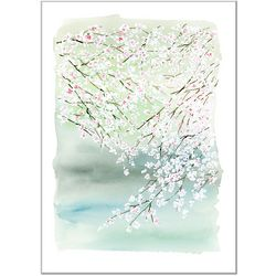 Cherry Blossoms on the Lake Watercolor Painting