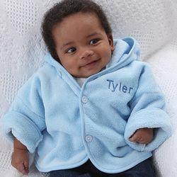 Boy's Personalized Blue Fleece Baby Jacket