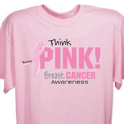 Personalized Think Pink Breast Cancer Awareness T-Shirt