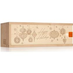 Holiday Engraved Wood Single Bottle Wine Box