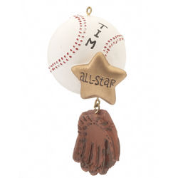 Personalized All Star Baseball Christmas Ornament