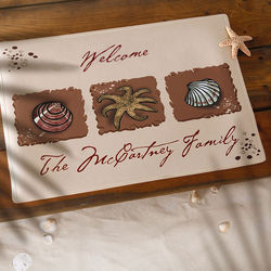 Sea Shore Greetings Personalized Doormat
