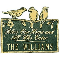 Birds on a Branch Personalized Blessing Plaque