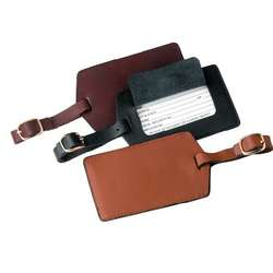 Deluxe Leather Luggage Tag with Privacy Flap