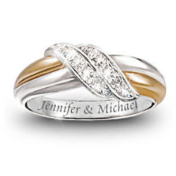 Diamond Embrace Personalized Engraved Couples Diamond Ring
