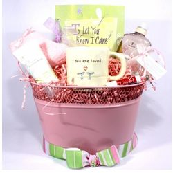 To Let You Know I Care Gift Basket in Pink