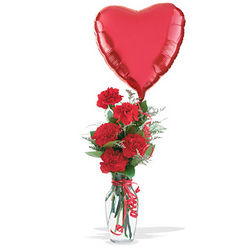 Hugs and Kisses Bud Vase and Balloon Bouquet