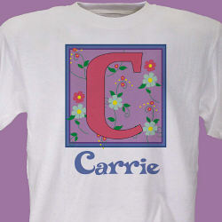 Floral Initial Personalized T-Shirt