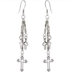 Sterling Silver Triple Cross Drop Earrings