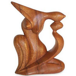 Elegant Kiss Wood Statuette