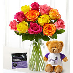 Bieber Fever Multicolored Dozen Roses Bouquet