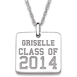 Sterling Silver Graduation Name and Class Year Engraved Necklace