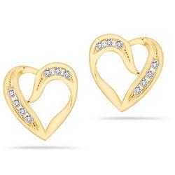 14K Gold 0.24 Carat Diamond Heart Earrings
