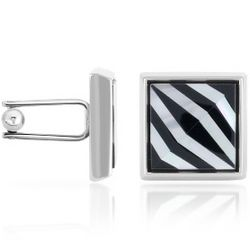 Mother of Pearl and Onyx Square Cufflinks