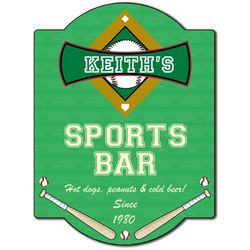 Baseball Personalized Bar Sign
