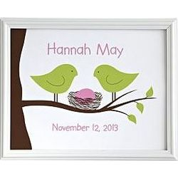 Personalized Baby Bird Nest Print
