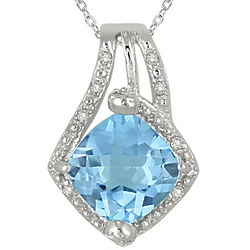Carat Cushion Cut Blue Topaz Pendant in Sterling Silver