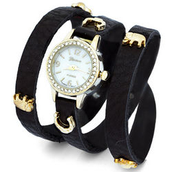 Lucky Charm Black and Gold Wrap Watch
