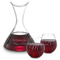 Personalized Roman Wine Decanter and Stemless Wine Glasses