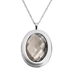 Sterling Silver Oval Locket with Smokey Quartz