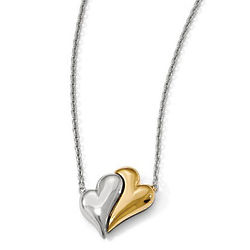 Sterling Silver & 14K Gold-Plated Magnetic Double Heart Necklace