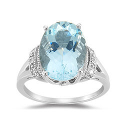Diamond , Aquamarine and 14K Gold Ring