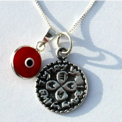 Evil Eye and Love Seal Silver Necklace