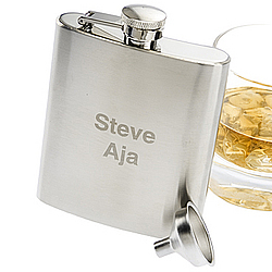 Personalized Brushed Metal Flask