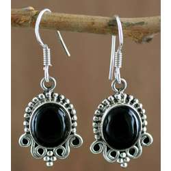 'Midnight Kiss' Onyx Dangle Earrings