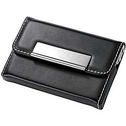 Black Leather & Stainless Steel Business Card Holder