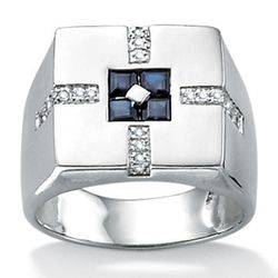 Men's Blue Sapphire Sterling Silver Ring