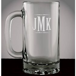 Monogrammed Glass Beer Mug