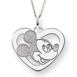 Sterling Silver Mickey Mouse Heart Charm Pendant