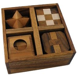 5 Wooden Puzzles Set in Wooden Box