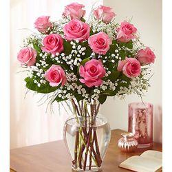 Dozen Rose Elegance Long Stem Pink Roses