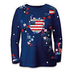 Patriotic Patchwork Women's Long Sleeved Shirt