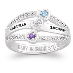 Sterling Silver Couple's Birthstone Engraved Ring