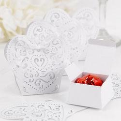 Elegant White Shimmer Heart Favor Boxes