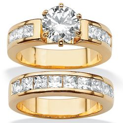 Round and Princess-Cut Cubic Zirconia Wedding Ring Set
