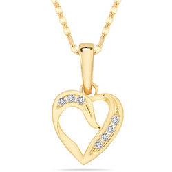 14K Yellow Gold Seven Stone Diamond Heart Pendant