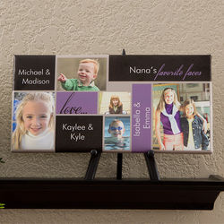 Favorite Faces 5 Photo Collage Personalized Canvas Art Print